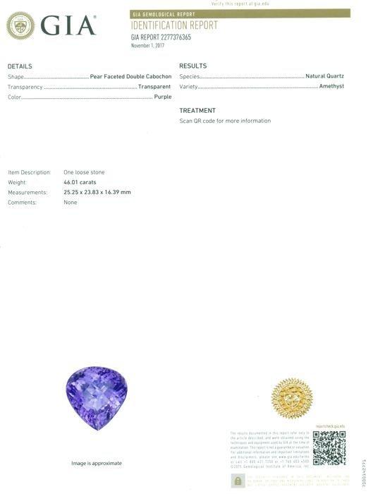 GIA Certified 46.01 ct. Purple Amethyst BRAZIL - 2