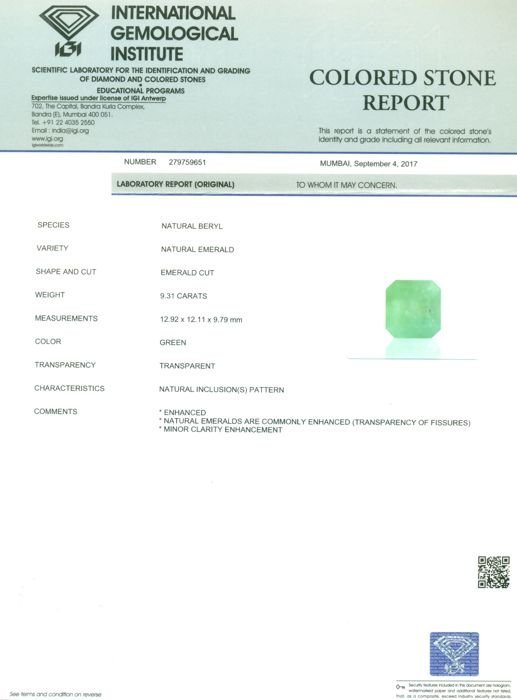 IGI Certified 9.31 ct. Emerald COLOMBIA - 2