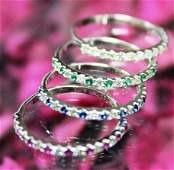 14 K / 585 White Gold Set of 4 Rings Made 4 each other