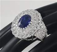14 K White Gold Blue Sapphire IGI  Diamond Ring