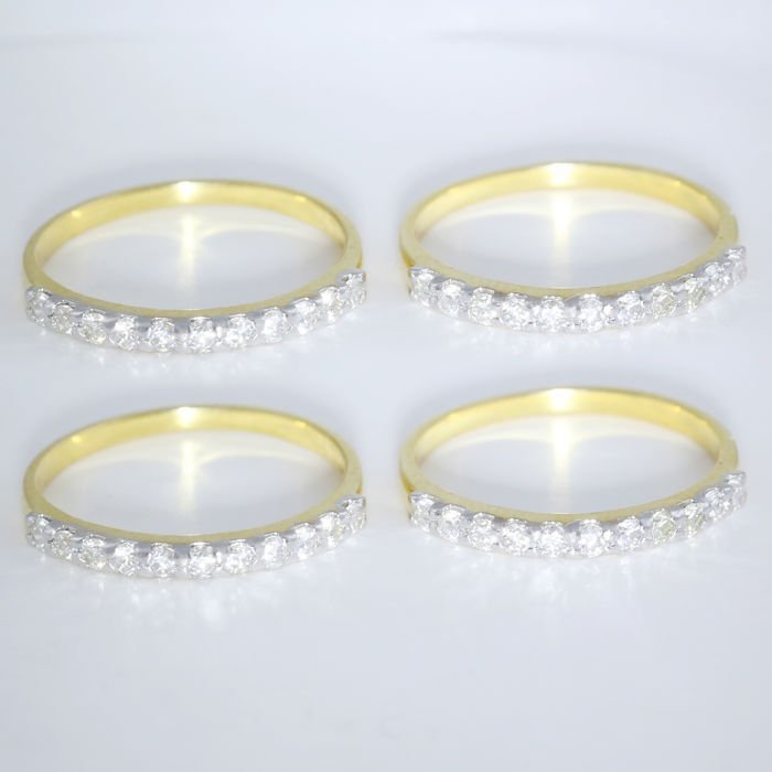 14 K / 585 Yellow Gold set of 4 Diamond Band Rings - 2