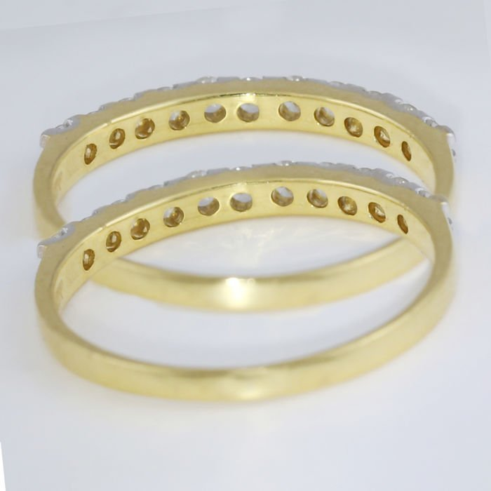 14 K / 585 Yellow Gold set of 4 Diamond Band Rings - 3