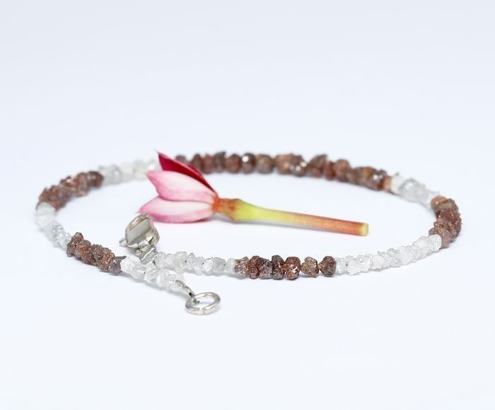Silver 925 and Rough Diamond Bracelet with clasp - 2