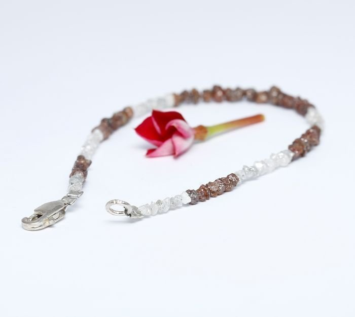 Silver 925 and Rough Diamond Bracelet with clasp - 3