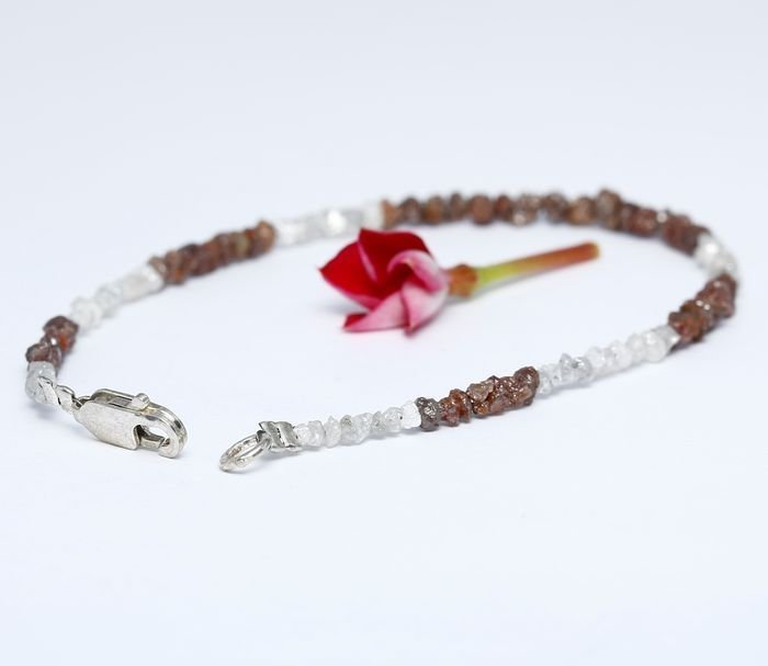 Silver 925 and Rough Diamond Bracelet with clasp - 4
