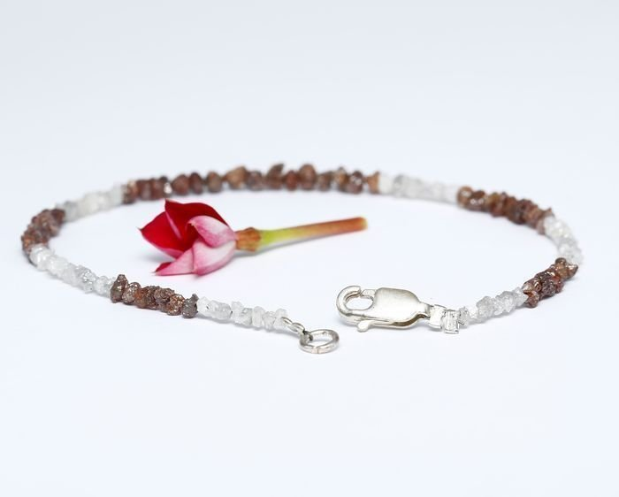Silver 925 and Rough Diamond Bracelet with clasp - 5