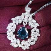 14 K White Gold Sapphire  Diamond Pendant Necklace