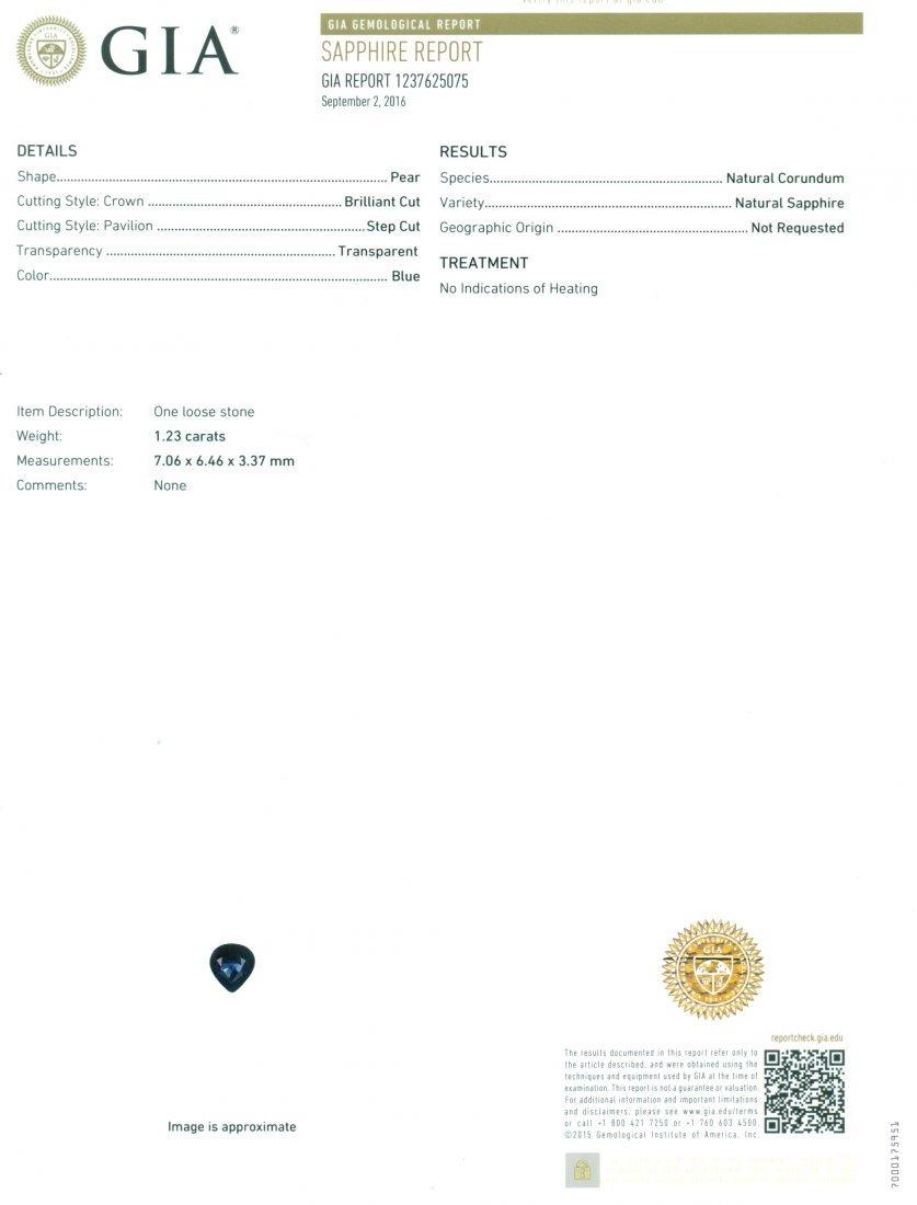 14 K White Gold Sapphire & Diamond Pendant Necklace - 2