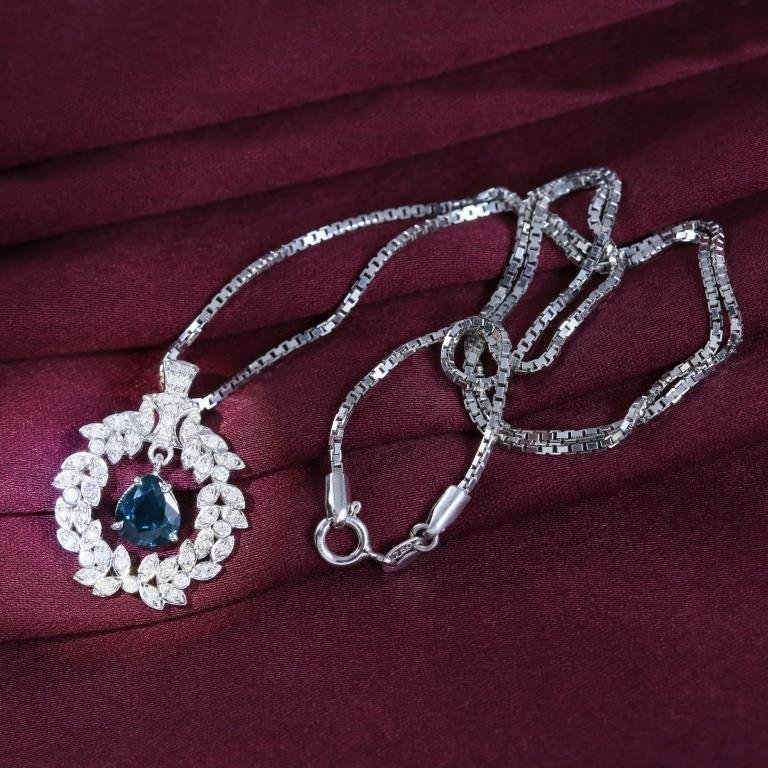 14 K White Gold Sapphire & Diamond Pendant Necklace - 4