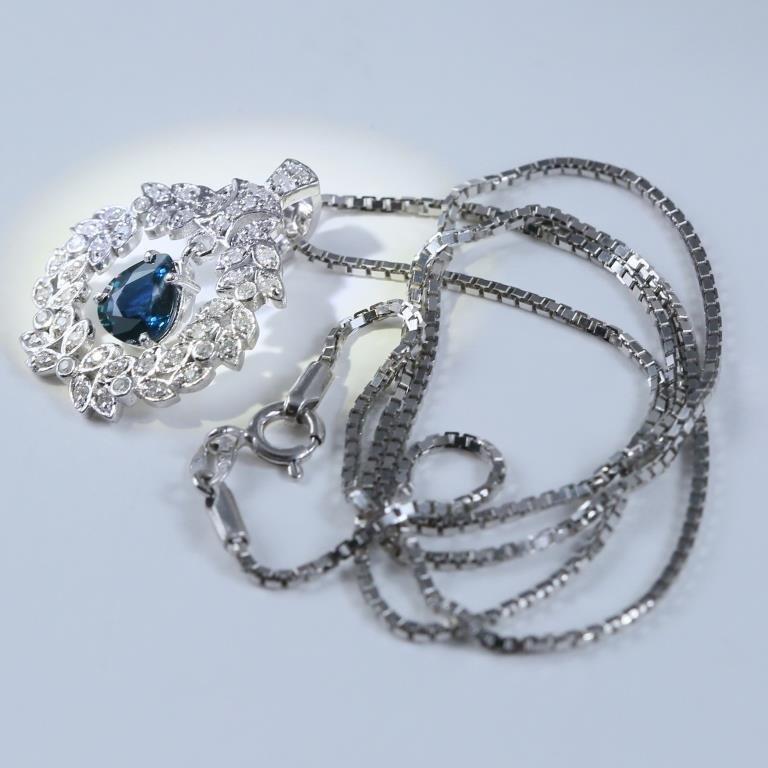 14 K White Gold Sapphire & Diamond Pendant Necklace - 5