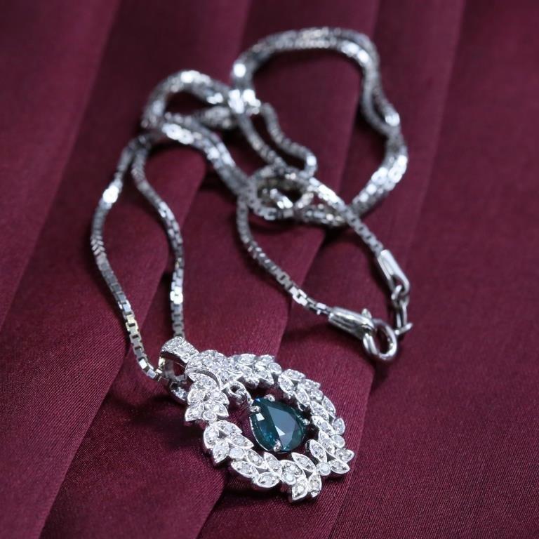 14 K White Gold Sapphire & Diamond Pendant Necklace - 6