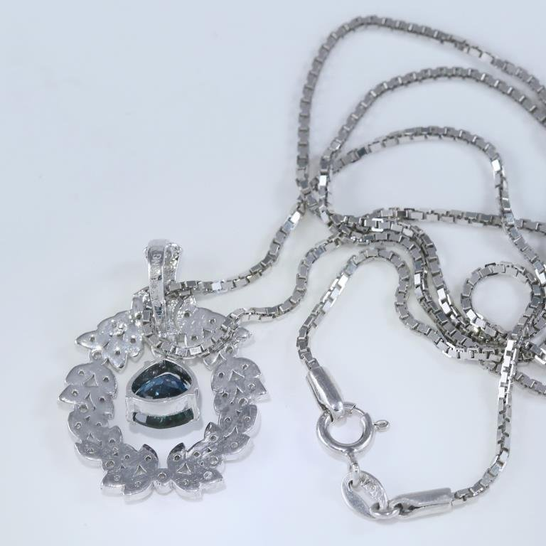 14 K White Gold Sapphire & Diamond Pendant Necklace - 7