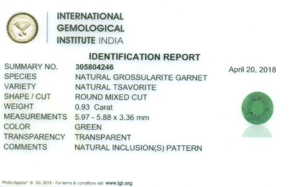 IGI Certified 0.93 ct. Tsavorite Garnet Untreated KENYA - 2