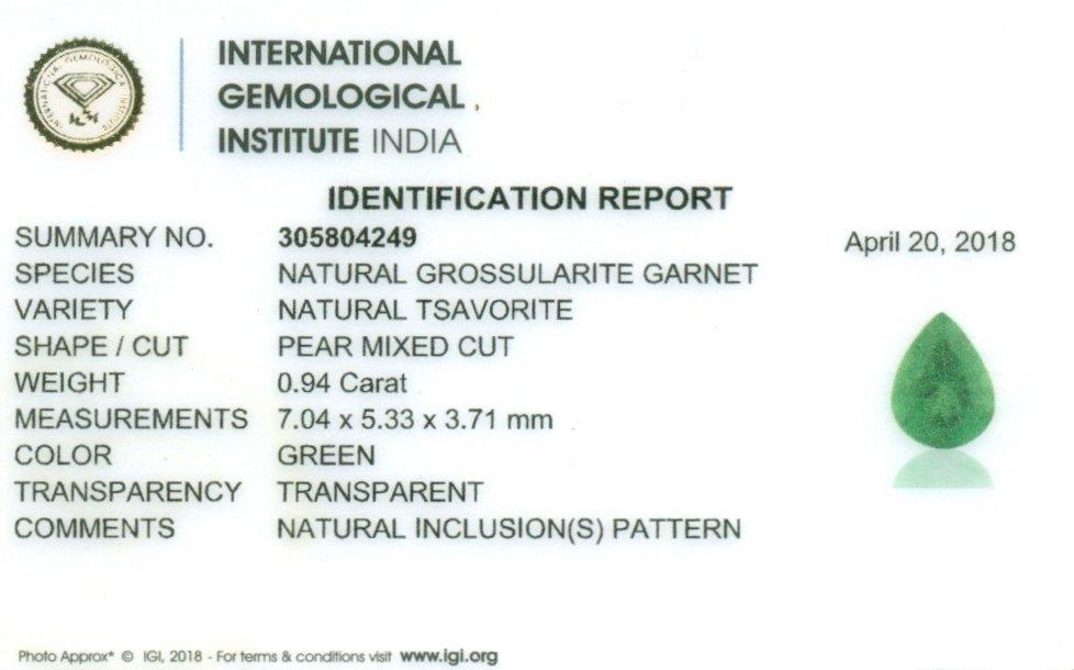 IGI Certified 0.94 ct. Tsavorite Garnet Untreated KENYA - 2