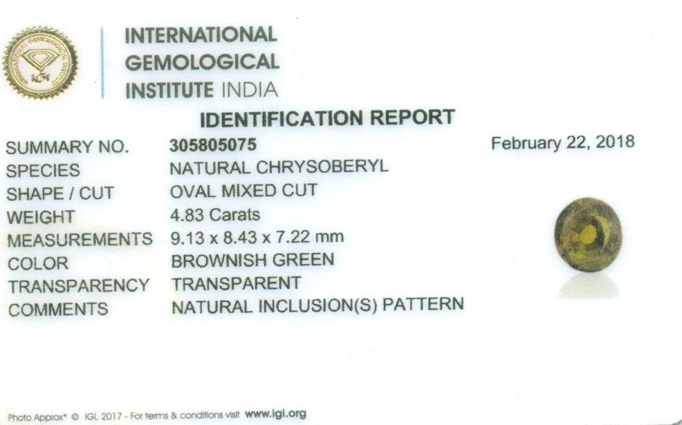 IGI Certified 4.83 ct. Natural Chrysoberyl - SRI LANKA - 2