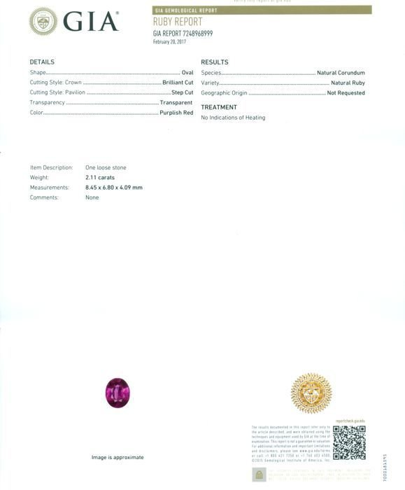 GIA Certified 2.11 ct. Untreated Ruby - BURMA, MYANMAR - 2