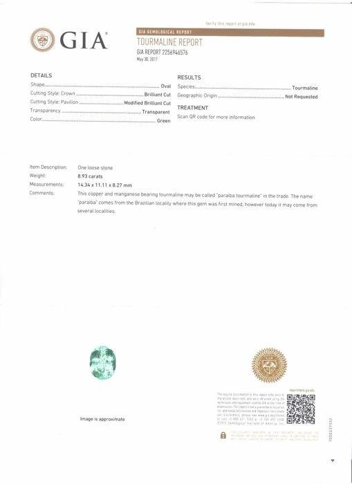"GIA Certified 8.93 ct. Neon Green "" PARAIBA "" - BRAZIL - 2"