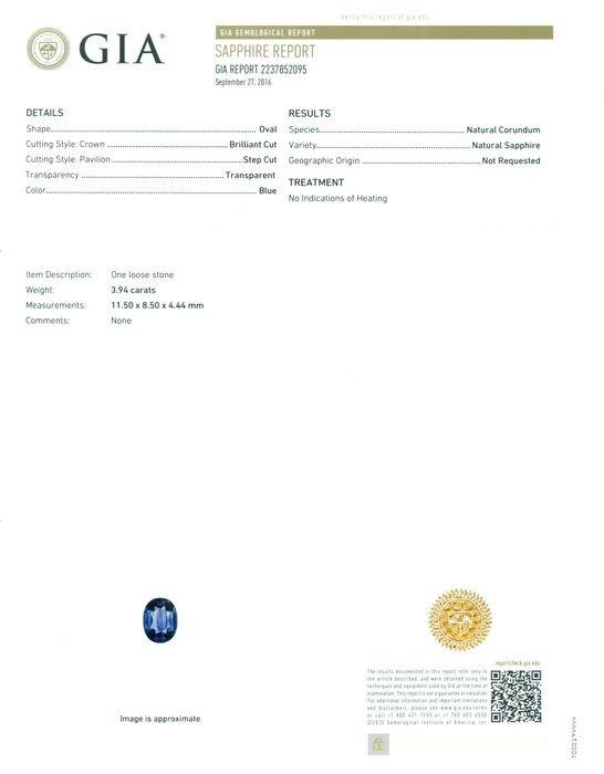 GIA Cert. 3.94ct. Untreated Blue Sapphire BURMA,MYANMAR - 2