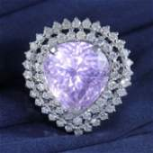 14 K White Gold Kunzite IGI Certified  Diamond Ring