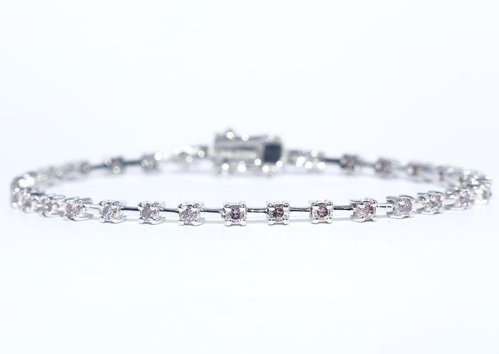 "14 K / 585 White Gold "" PINK "" Diamond Tennis Bracelet"