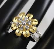 18K750 Yellow Gold IGI Certified Designer Diamond Ring