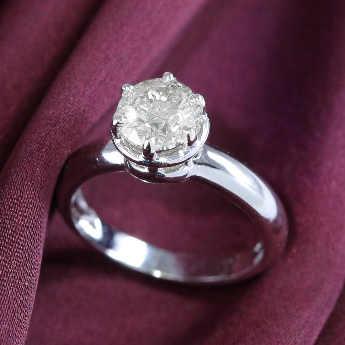 14 K White Gold IGI Certified Solitaire Diamond Ring