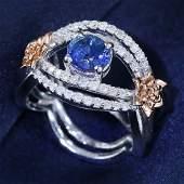 14 K White Gold GIA Cert Blue Sapphire Diamond Ring