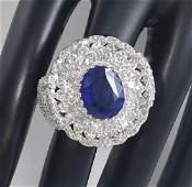 14 K White Gold Blue Sapphire IGI Diamond Ring