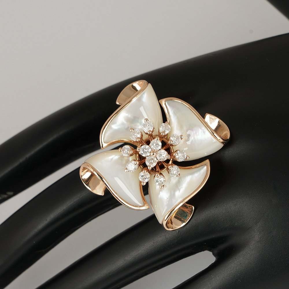 14 K / 585 Rose Gold Diamond & Mother of Pearl Ring