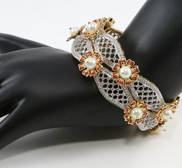 14K Yellow Gold Diamond Bangle (2) with Pearls & Enamel