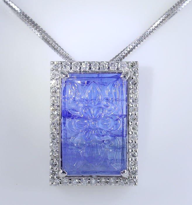 14 K White Gold Tanzanite & Diamond Pendant Necklace