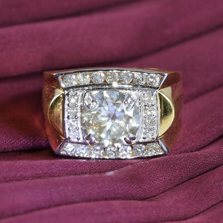 14 K / 585 Yellow Gold Men's Solitaire Diamond Ring