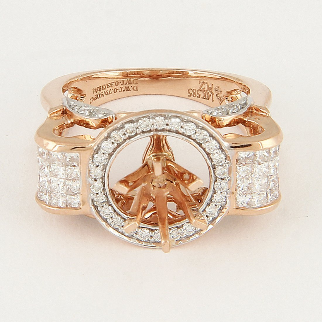 14 K Rose Gold Diamond Ring - Center stone unmounted