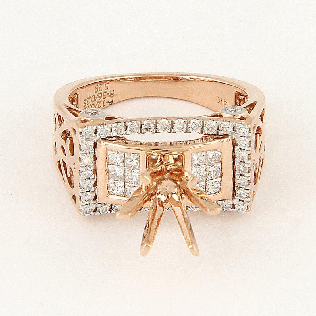 14 K Rose Gold Diamond Ring - Center stone unmounted