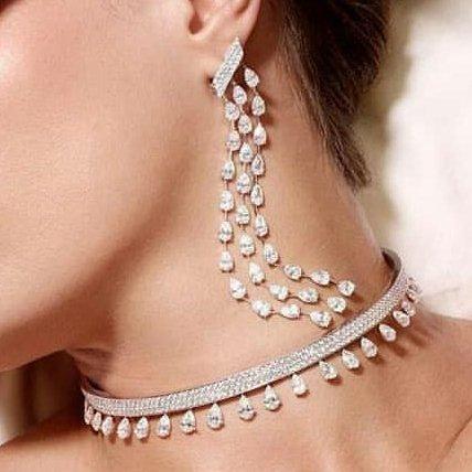 14 K / 585 Rose Gold Diamond Choker Necklace & Earrings