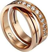 18 K  750 Rose Gold CARTIER Style Diamond Ring