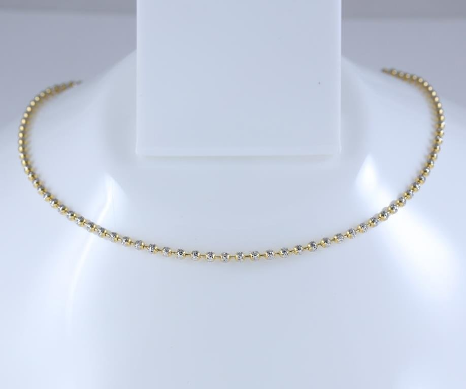 18 K/750 Yellow and White Gold Bead Chain Necklace