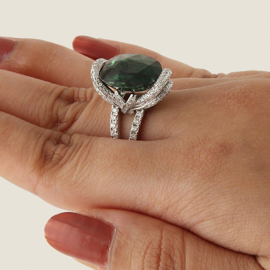 14 K White Gold Tsavorite (GFCO Cert.) & Diamond Ring