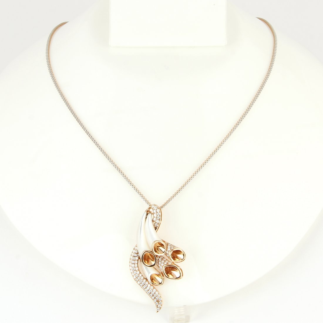 18 K Rose Gold Diamond & Mother of Pearl Pendant