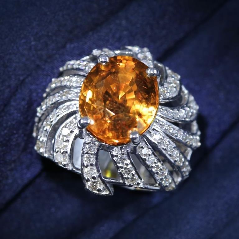 14K White Gold GIA 10.90 Ct. Alexandrite & Diamond Ring