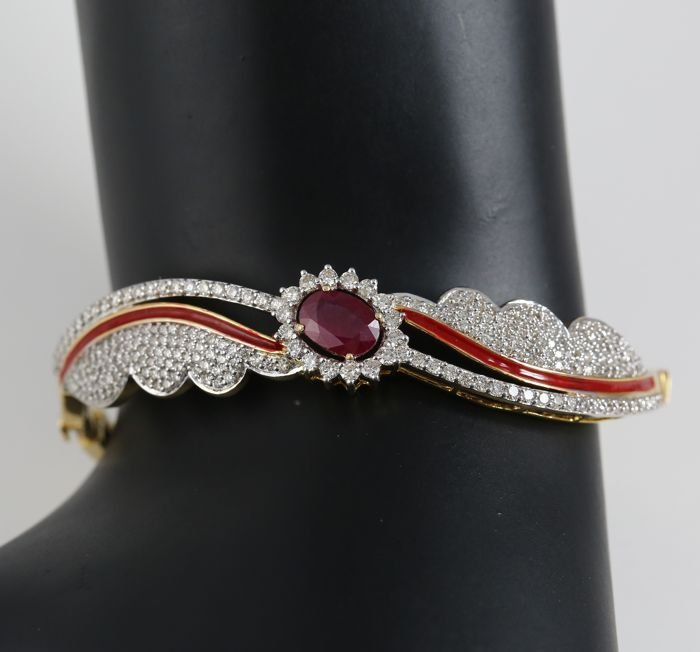 14 K Yellow Gold Bracelet Ruby, Diamonds & Enamel work