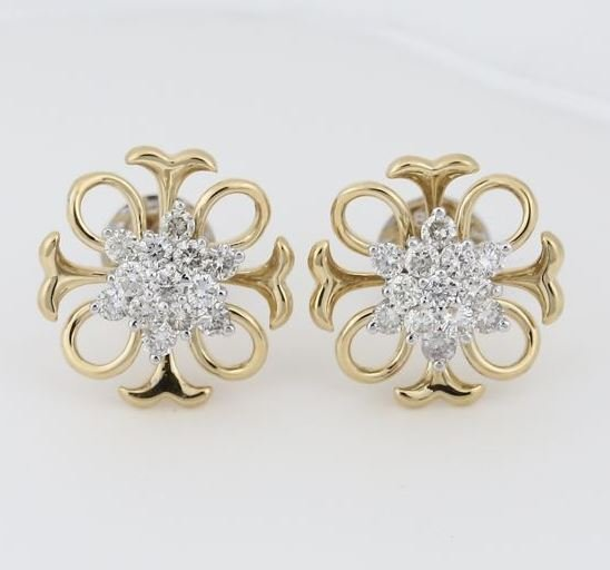 18 K / 750 Yellow Gold IGI Certified Diamond Earrings