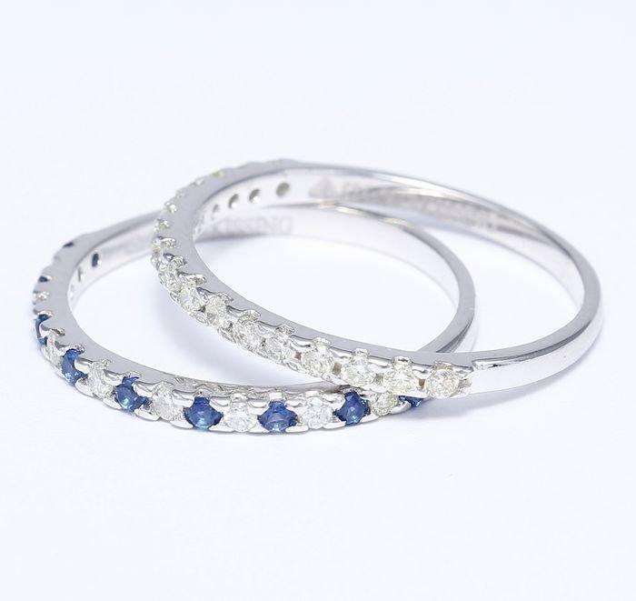 14 K White Gold Diamond and Blue Sapphire Ring set