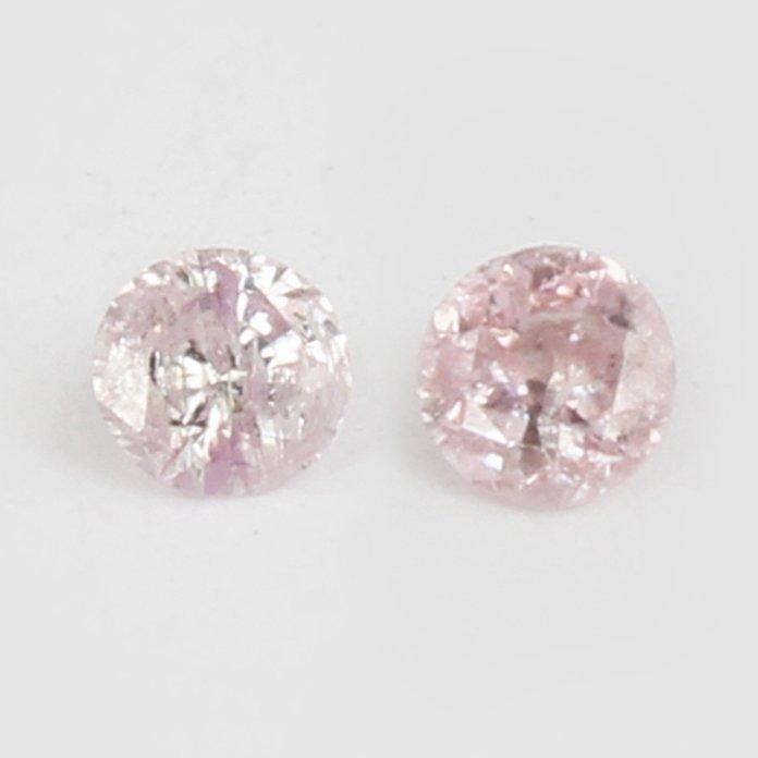 IGI Certified Pair Fancy Light Pink Diamonds UNTREATED