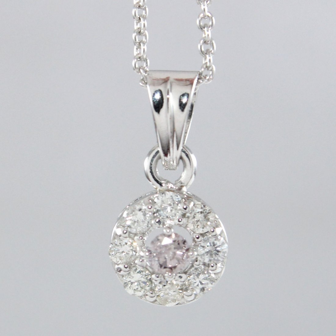 14K White Gold PINK Diamond Pendant Necklace & Earrings