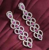 14 K White Gold IGI Cert Long Diamond  Ruby Earrings