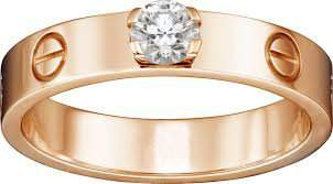 18 K Rose Gold CARTIER Style Solitaire Diamond Ring
