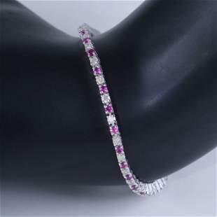 14 K White Gold Tennis Bracelet with Diamonds & Rubies