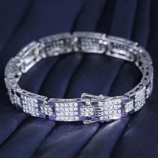 14 K / 585 White Gold Diamond Men's Bracelet