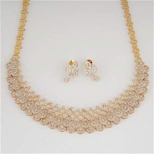 14 K Yellow Gold Diamond Necklace with Drop Earrings
